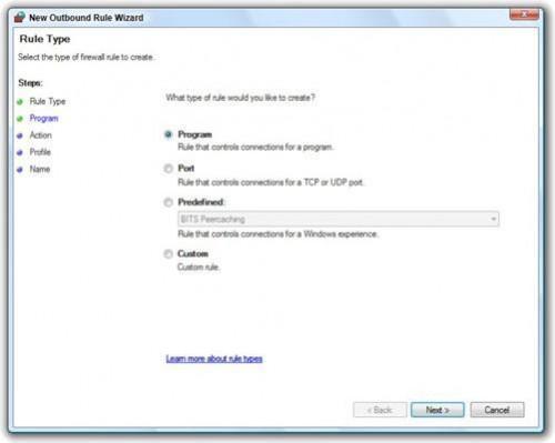 Cómo trabajar con el Firewall de salida de Windows Vista