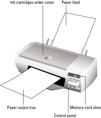 Las partes de una computadora de la impresora