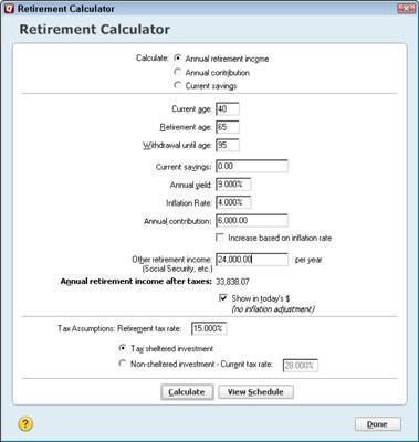 Cálculos Planificación de la jubilación con Quicken 2012