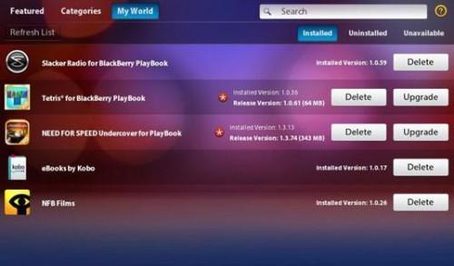 Mi mundo en BlackBerry App World en su PlayBook