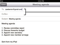 Para las personas mayores: E-mail a un Nota de iPad 2