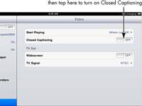 Para las personas mayores: Encienda Subtitulado en el iPad 2