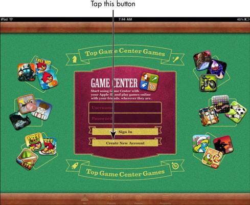 Para las personas mayores: Abra una cuenta de Game Center para el iPad