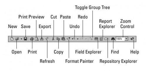 Crystal Reports 10 Barras de herramientas