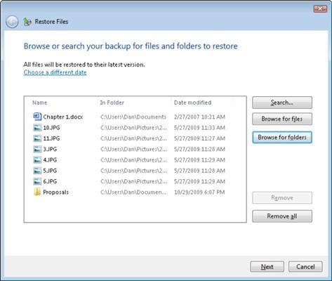 Cómo restaurar archivos desde una copia de seguridad de Windows 7 Mayor
