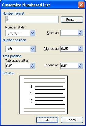 Aumento del espacio entre los números y texto en una lista