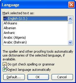 Desactivación de la corrección ortográfica