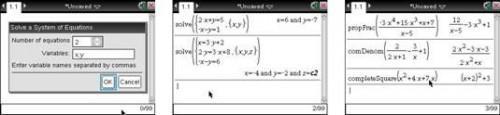 TI-Nspire CAS Álgebra Comandos del submenú