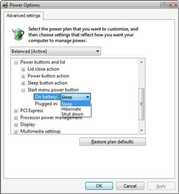 Cómo cambiar las funciones del botón de encendido de su computadora portátil en Windows Vista